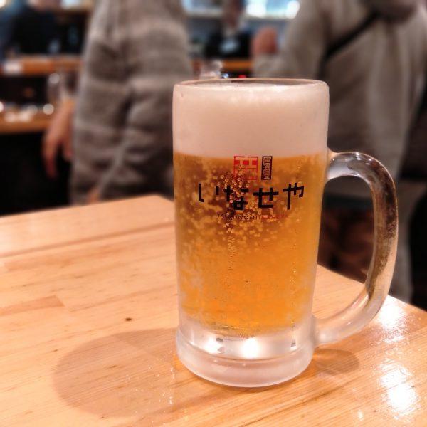 京都-いなせや--生ビール